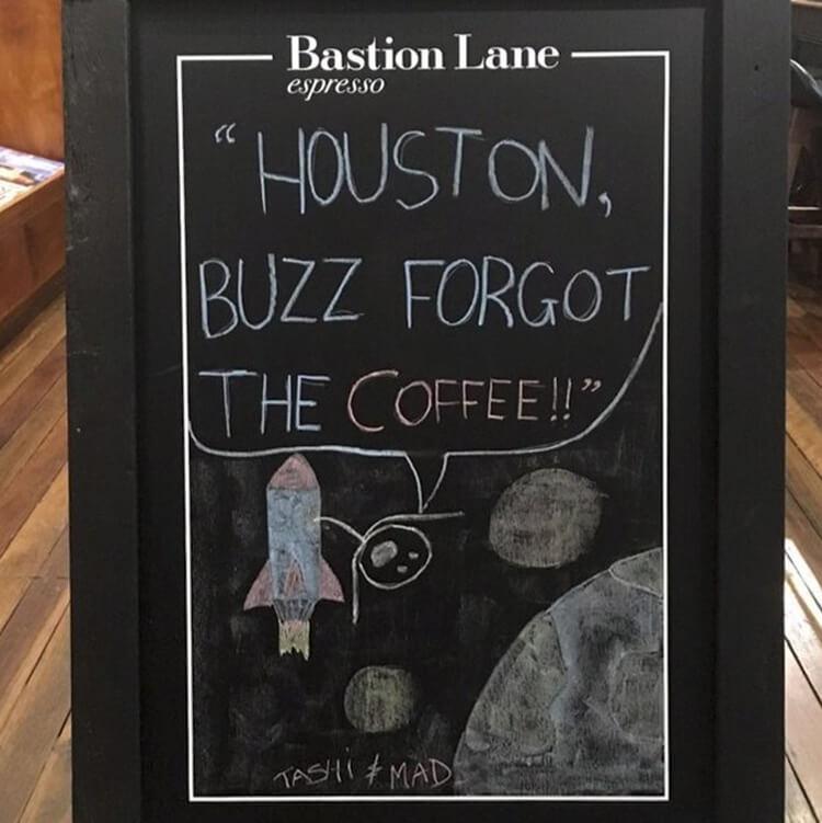 Houston, buzz forgot the coffee!!