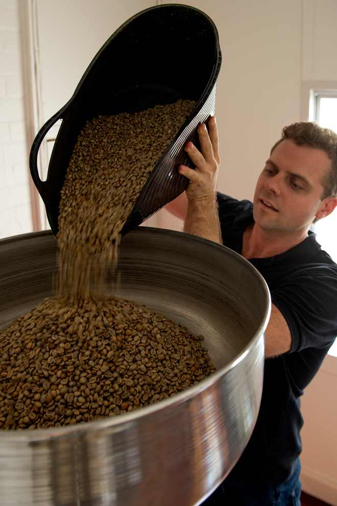 Gary roasting coffee at Bastion Lane Espresso's Uki Post Office